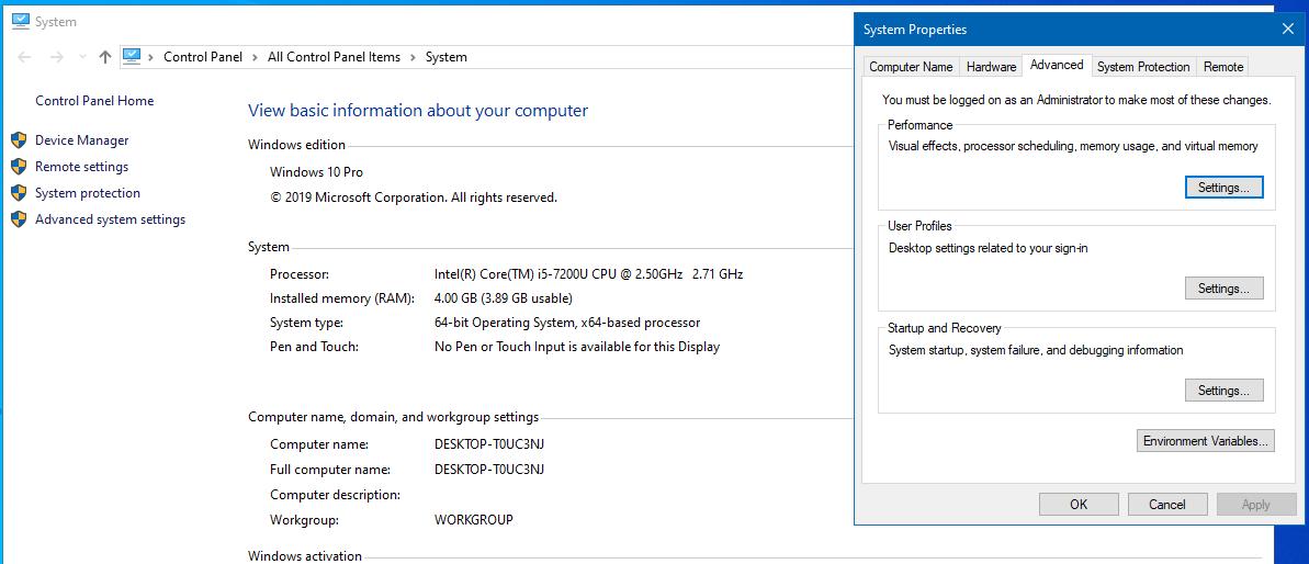 cửa sổ hiện ra sau khi nhấp chọn Advanced system setting