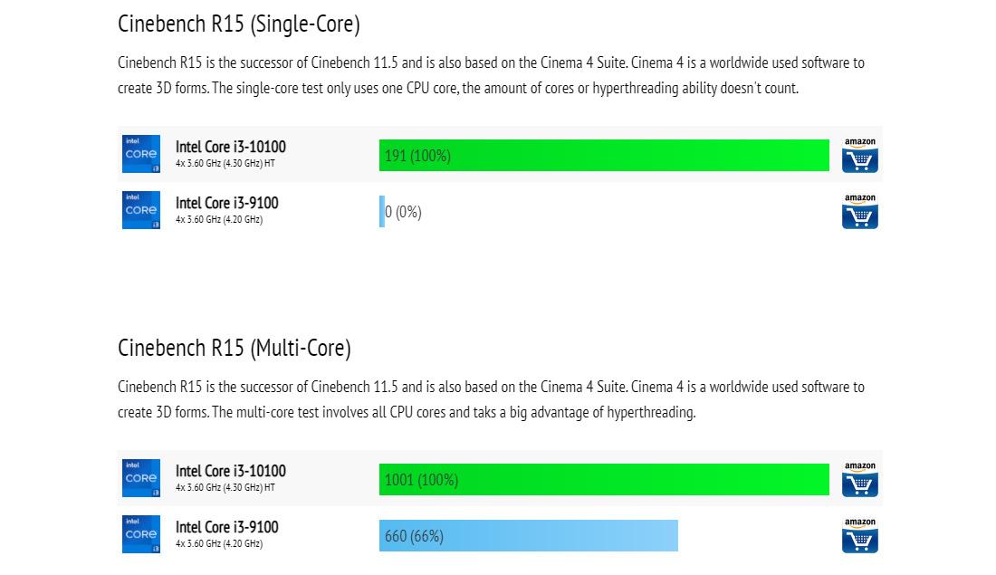 Core i3 10100 vs Core i3 9100